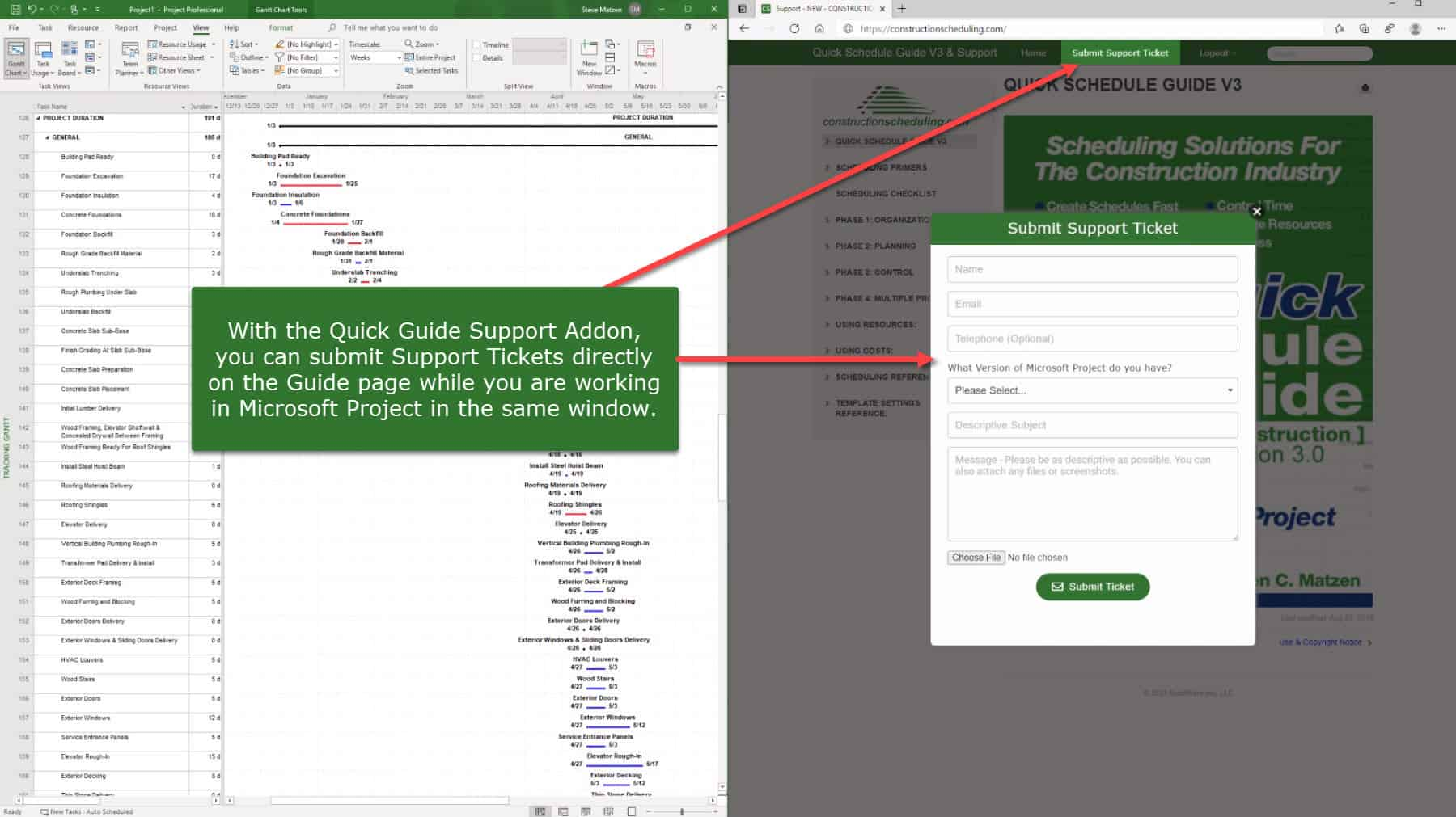 Construction Scheduling Submit Support Ticket